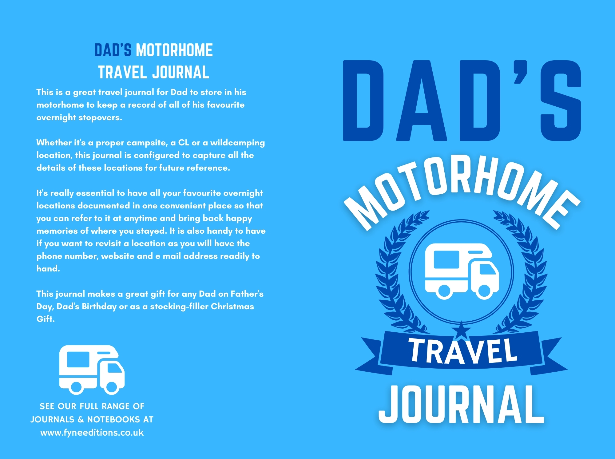 Dad's Motorhome Travel Journal - Cover